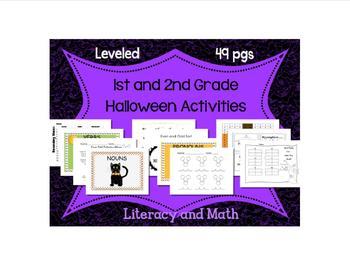 1st-2nd Grade Halloween Math & Reading: Word Families, Addition, even/odd, etc.