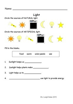 1st / 2nd Grade Light Worksheet