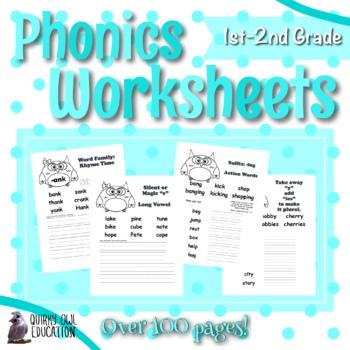 1st & 2nd Grade Phonics Worksheet Set