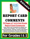 1st & 2nd Grade Report Card Comments (Editable)