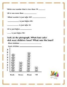 1st-2nd Math skills review --12 pages