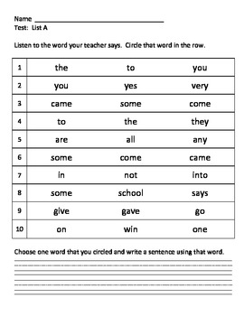 1st-3rd Grade Irregularly Spelled Words Assessments
