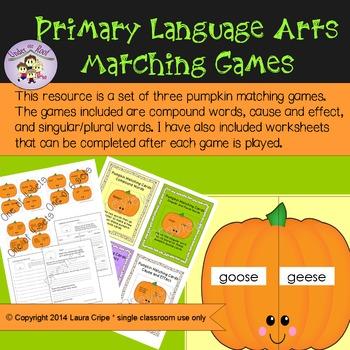 1st - 3rd Language Arts Pumpkin Matching Games