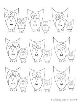 1st - 3rd Owl Addition File Folder Game