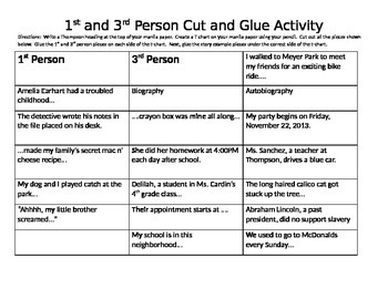 1st & 3rd Person Cut and Paste Activity