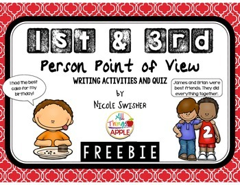 1st & 3rd Person Point of View Writing Activities and Quiz!! FREEBIE!!!