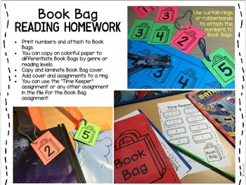 Book Bag EDITABLE Reading Response Word Work 1st - 3rd