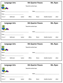Classroom Management: Classroom Hall Passes 1st - 4th Quarter