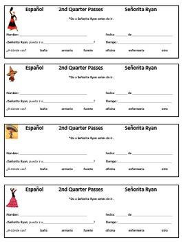 Spanish 1: Classroom Hall passes