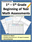 1st - 5th G Beginning of the Year Math Assessment Bundle
