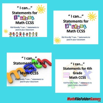 "1st - 8th Grade MATH CCSS ""I Can"" Statements {Editable PowerPoint} - BUNDLE"