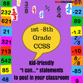 """1st-8th Grade MATH CCSS """"I Can"""" Statements {Editable Power"""