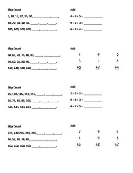 (1st 9 Weeks) 2nd Grade Math Journal Strips:common core aligned