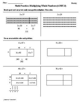 (1st 9 Weeks) 4th Grade Common Core Math Worksheets [BUNDLED]
