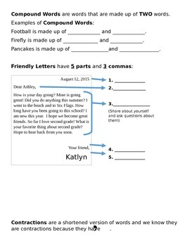 1st 9 Weeks Second Grade Grammar Packet