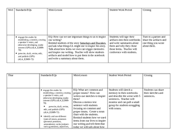 1st 9 weeks Writing Lesson Plans