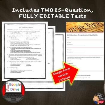 First Amendment Freedoms–Civil Liberties UNIT TEST - Editable (Civics)