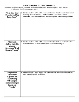1st Amendment Student Rights Articles and Graphic Organizer/Questions