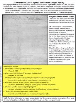1st Amendment to Constitution Document Analysis Activity