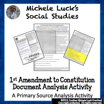 1st Amendment to Constitution Document Analysis Activity