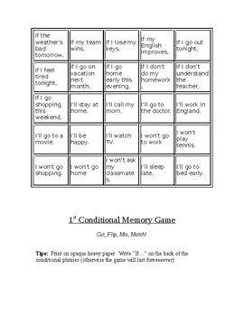 1st Conditional Memory Game!