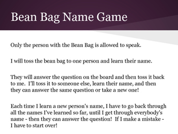 1st Day Bean Bag Name Game