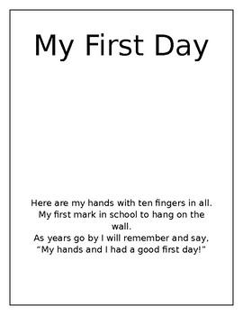 1st Day Handprint Activity