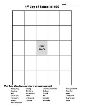 1st Day Meme BINGO Board