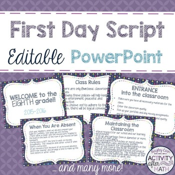 First Day Script in an Editable PowerPoint! Introduce Classroom Rules!