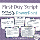 First Day Script Editable PowerPoint Introduce Classroom Rules
