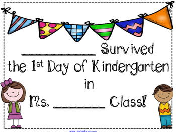 1st day of kindergarten certificate by robin laporte tpt