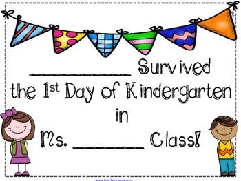 1st Day of Kindergarten Certificate