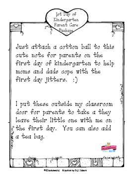1st day of kindergarten note for parents help parents - One of your students left their book on the table ...