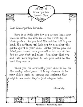 1st Day of Kindergarten Note For Parents: Help parents cope with this cute note.