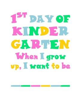 1st Day of Kindergarten printable
