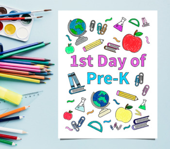 1st Day of Pre-K Coloring Sheet