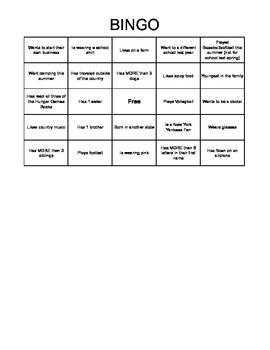 1st Day of School Bingo Game