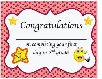 1st Day of School Certificate