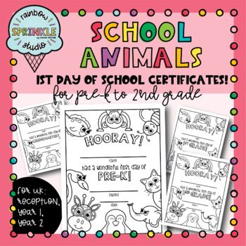1st Day of School Certificates - School Animals - Coloring Pages