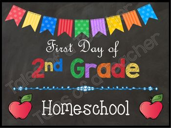 1st Day of School Homeschool Signs {Brights}