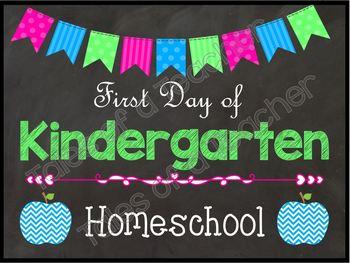 1st Day of School Homeschool Signs {Neon}