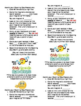 1st Day of School Instructions Bookmark