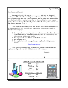 1st Day of School Parent Letter