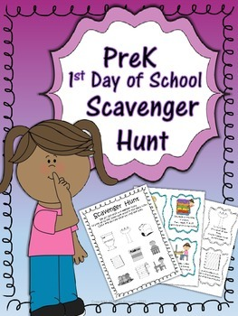 1st Day of School ~Scavenger Hunt~ Back to School