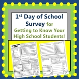 1st Day of School Survey for High Schoolers
