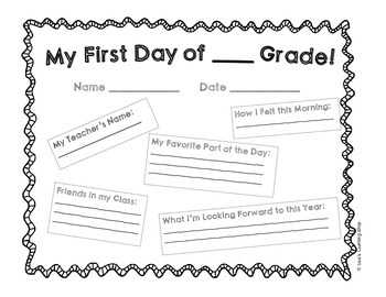 1st Day of School Worksheet