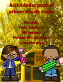 1st Day of school Spanish activity set
