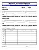 1st Days - Student Info Sheet