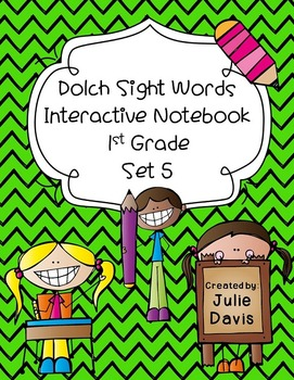 1st First Grade Dolch Sight Word Interactive Notebooks Set 5
