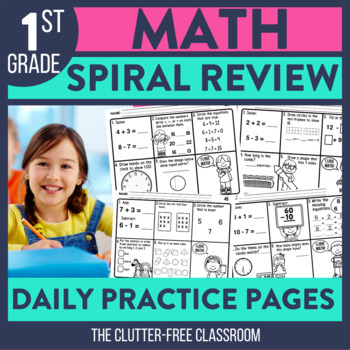 1st GRADE MATH SPIRAL REVIEW - GROWING BUNDLE FOR THE YEAR